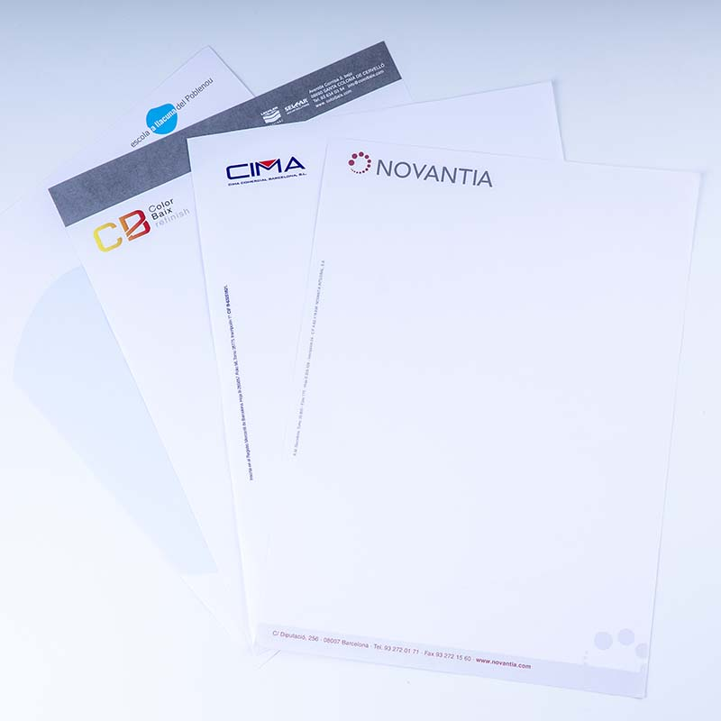 Envelopes, letterheads and checkbooks